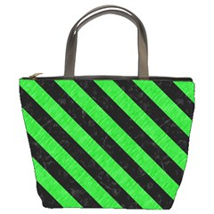 Stripes3 Black Marble & Green Colored Pencil (r) Bucket Bags