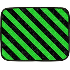 Stripes3 Black Marble & Green Colored Pencil (r) Fleece Blanket (mini)