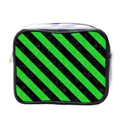 Stripes3 Black Marble & Green Colored Pencil (r) Mini Toiletries Bags