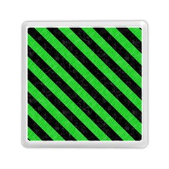 Stripes3 Black Marble & Green Colored Pencil (r) Memory Card Reader (square)