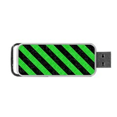 Stripes3 Black Marble & Green Colored Pencil (r) Portable Usb Flash (one Side)
