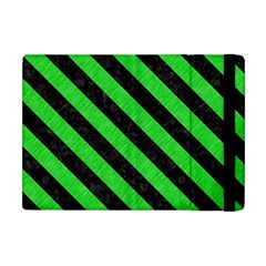 Stripes3 Black Marble & Green Colored Pencil (r) Apple Ipad Mini Flip Case