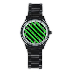 Stripes3 Black Marble & Green Colored Pencil (r) Stainless Steel Round Watch