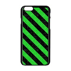 Stripes3 Black Marble & Green Colored Pencil (r) Apple Iphone 6/6s Black Enamel Case