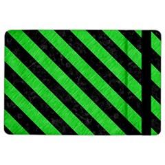 Stripes3 Black Marble & Green Colored Pencil (r) Ipad Air 2 Flip