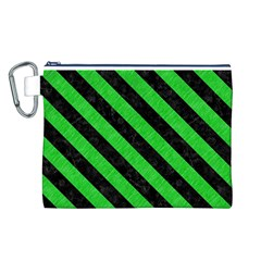 Stripes3 Black Marble & Green Colored Pencil (r) Canvas Cosmetic Bag (l)