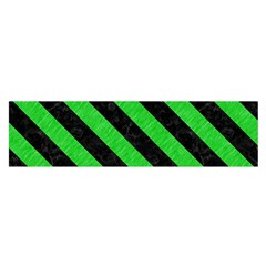 Stripes3 Black Marble & Green Colored Pencil (r) Satin Scarf (oblong)