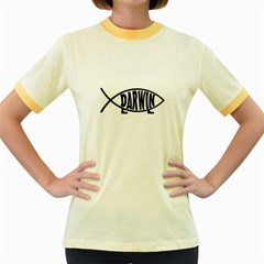 Darwin Fish Women s Fitted Ringer T Shirts