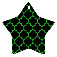 Tile1 Black Marble & Green Colored Pencil Ornament (star)