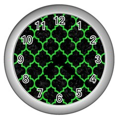 Tile1 Black Marble & Green Colored Pencil Wall Clocks (silver)