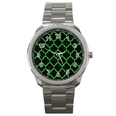 Tile1 Black Marble & Green Colored Pencil Sport Metal Watch