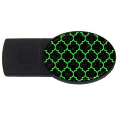 Tile1 Black Marble & Green Colored Pencil Usb Flash Drive Oval (4 Gb)