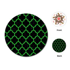 Tile1 Black Marble & Green Colored Pencil Playing Cards (round)