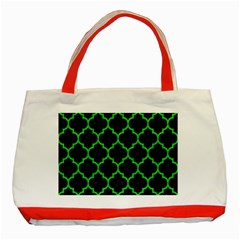 Tile1 Black Marble & Green Colored Pencil Classic Tote Bag (red)