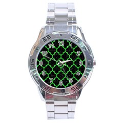 Tile1 Black Marble & Green Colored Pencil Stainless Steel Analogue Watch