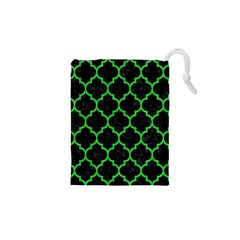 Tile1 Black Marble & Green Colored Pencil Drawstring Pouches (xs)