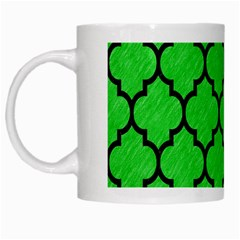 Tile1 Black Marble & Green Colored Pencil (r) White Mugs
