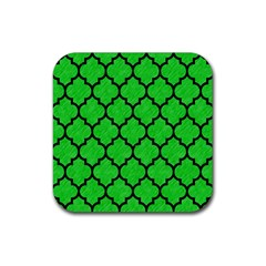 Tile1 Black Marble & Green Colored Pencil (r) Rubber Square Coaster (4 Pack)