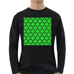 Tile1 Black Marble & Green Colored Pencil (r) Long Sleeve Dark T Shirts