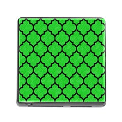 Tile1 Black Marble & Green Colored Pencil (r) Memory Card Reader (square)