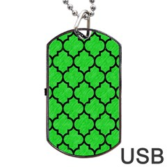 Tile1 Black Marble & Green Colored Pencil (r) Dog Tag Usb Flash (one Side)