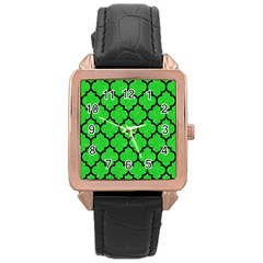 Tile1 Black Marble & Green Colored Pencil (r) Rose Gold Leather Watch