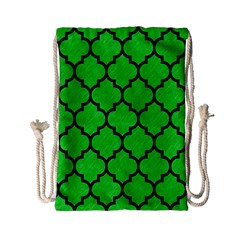 Tile1 Black Marble & Green Colored Pencil (r) Drawstring Bag (small)