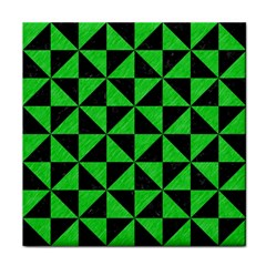 Triangle1 Black Marble & Green Colored Pencil Tile Coasters