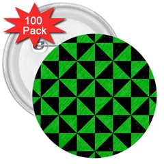 Triangle1 Black Marble & Green Colored Pencil 3  Buttons (100 Pack)