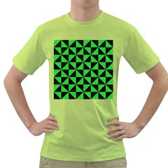 Triangle1 Black Marble & Green Colored Pencil Green T Shirt