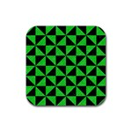 TRIANGLE1 BLACK MARBLE & GREEN COLORED PENCIL Rubber Square Coaster (4 pack)  Front