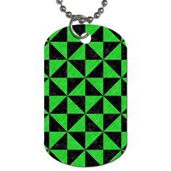 Triangle1 Black Marble & Green Colored Pencil Dog Tag (one Side)