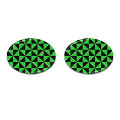 Triangle1 Black Marble & Green Colored Pencil Cufflinks (oval)