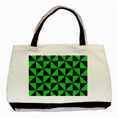 Triangle1 Black Marble & Green Colored Pencil Basic Tote Bag