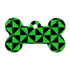 Triangle1 Black Marble & Green Colored Pencil Dog Tag Bone (two Sides)