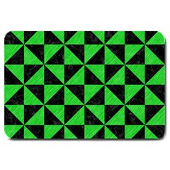 Triangle1 Black Marble & Green Colored Pencil Large Doormat