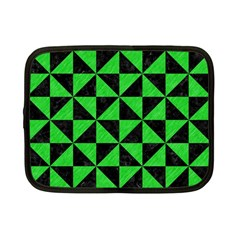 Triangle1 Black Marble & Green Colored Pencil Netbook Case (small)