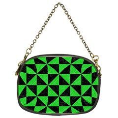 Triangle1 Black Marble & Green Colored Pencil Chain Purses (one Side)