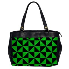Triangle1 Black Marble & Green Colored Pencil Office Handbags
