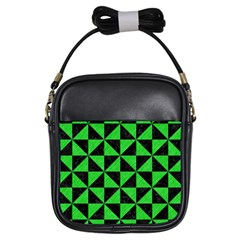 Triangle1 Black Marble & Green Colored Pencil Girls Sling Bags