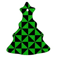 Triangle1 Black Marble & Green Colored Pencil Christmas Tree Ornament (two Sides)