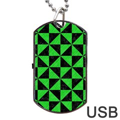 Triangle1 Black Marble & Green Colored Pencil Dog Tag Usb Flash (one Side)