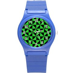 Triangle1 Black Marble & Green Colored Pencil Round Plastic Sport Watch (s)