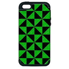 Triangle1 Black Marble & Green Colored Pencil Apple Iphone 5 Hardshell Case (pc+silicone)