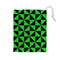 Triangle1 Black Marble & Green Colored Pencil Drawstring Pouches (large)