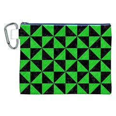 Triangle1 Black Marble & Green Colored Pencil Canvas Cosmetic Bag (xxl)