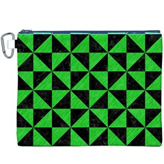 Triangle1 Black Marble & Green Colored Pencil Canvas Cosmetic Bag (xxxl)
