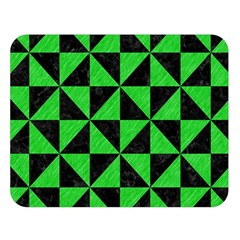 Triangle1 Black Marble & Green Colored Pencil Double Sided Flano Blanket (large)