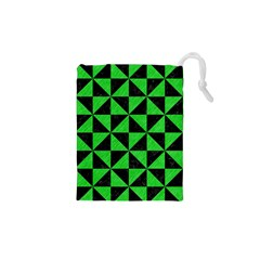 Triangle1 Black Marble & Green Colored Pencil Drawstring Pouches (xs)