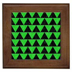 Triangle2 Black Marble & Green Colored Pencil Framed Tiles